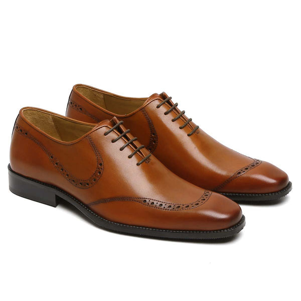 Tan Leather Hand Painted Quarter Brogue Formal Shoes By Brune