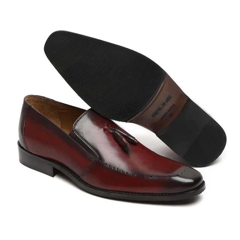 Brune Stylish Wine Hand Painted Leather Tassel Loafer Shoes For Men