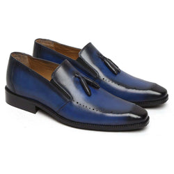 Brune Stylish Blue Hand Painted Leather Tassel Loafer Shoes For Men