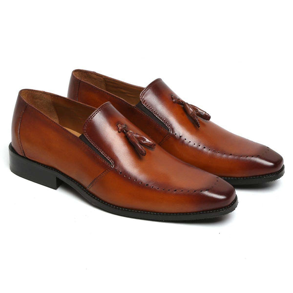Tan Leather Tassel Loafer Hand Painted Shoes By Brune
