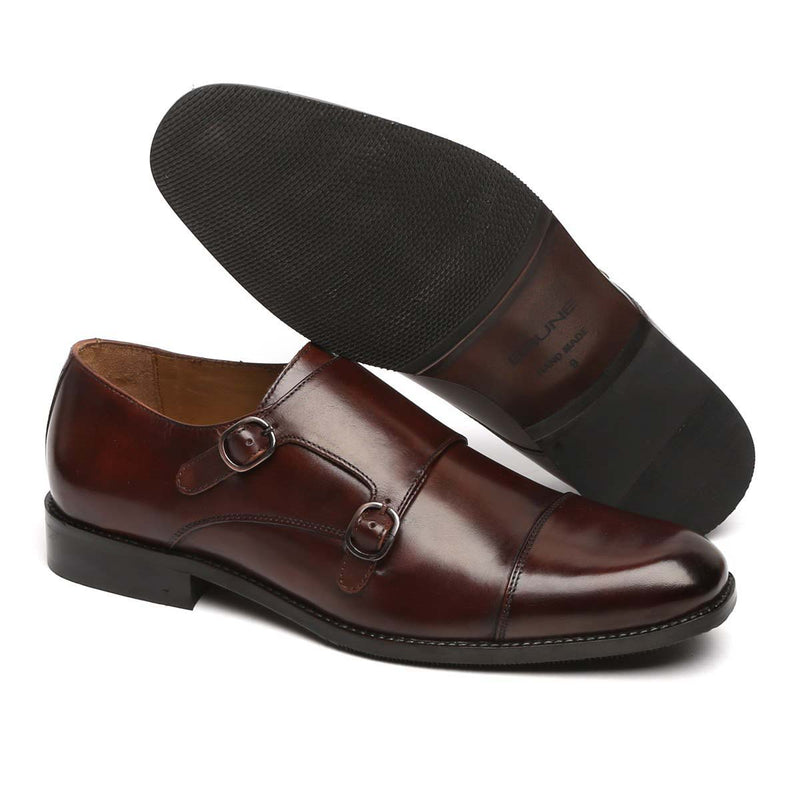 Dark Brown Genuine Leather Cap Toe Double Monk Strap Formal Shoes By Brune