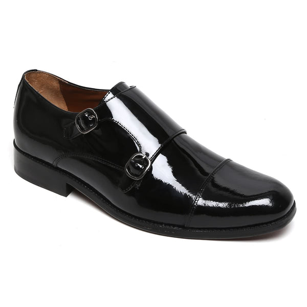 Patent Black Genuine Leather Cap Toe Double Monk Strap Formal Shoes By Brune