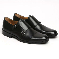 Black Genuine Leather Cap Toe Double Monk Strap Formal Shoes By Brune