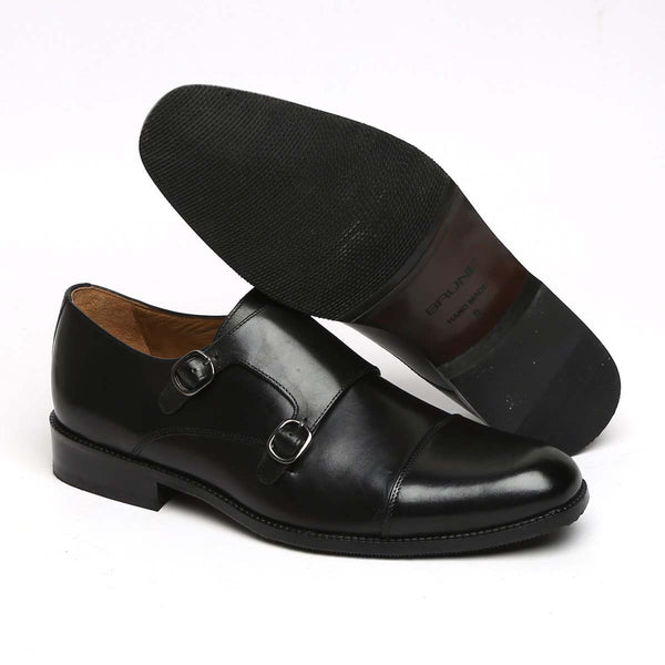 Black Leather Cap Toe Double Monk Strap Formal Shoes By Brune