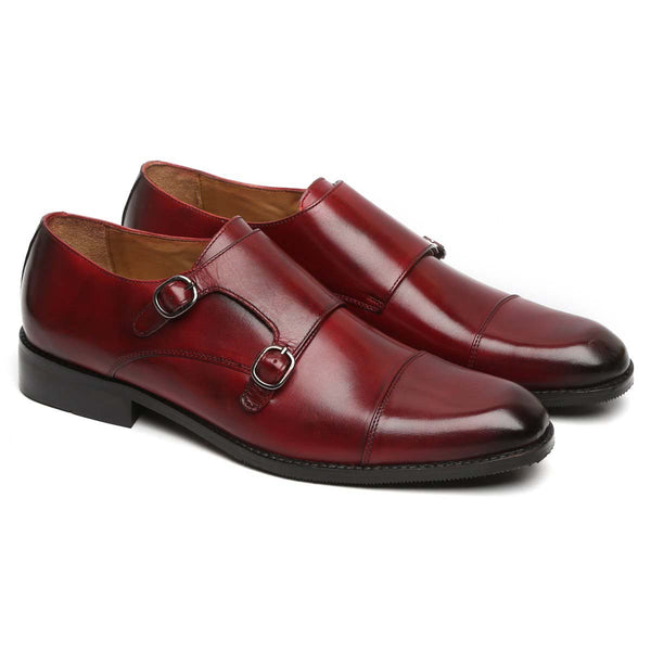 Wine Genuine Leather Cap Toe Double Monk Strap Formal Shoes By Brune