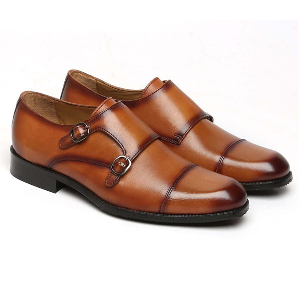 Tan Leather Cap Toe Double Monk Strap Formal Shoes By Brune