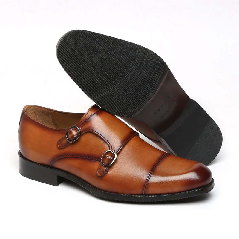 Tan Genuine Leather Cap Toe Double Monk Strap Formal Shoes By Brune