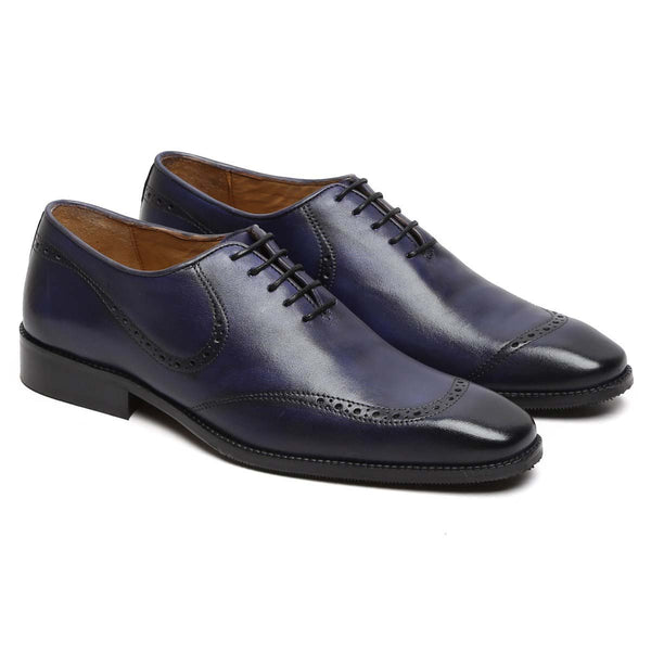 Blue Hand Painted Genuine Leather Quarter Brogue Formal Shoes By Brune