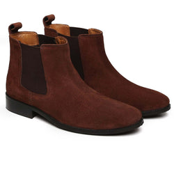 Light Brown Suede Leather Hand Made Chelsea Boots For Men By Brune