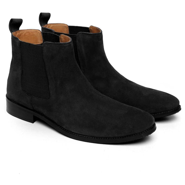 Black Suede Leather Hand Made Chelsea Boots For Men By Brune
