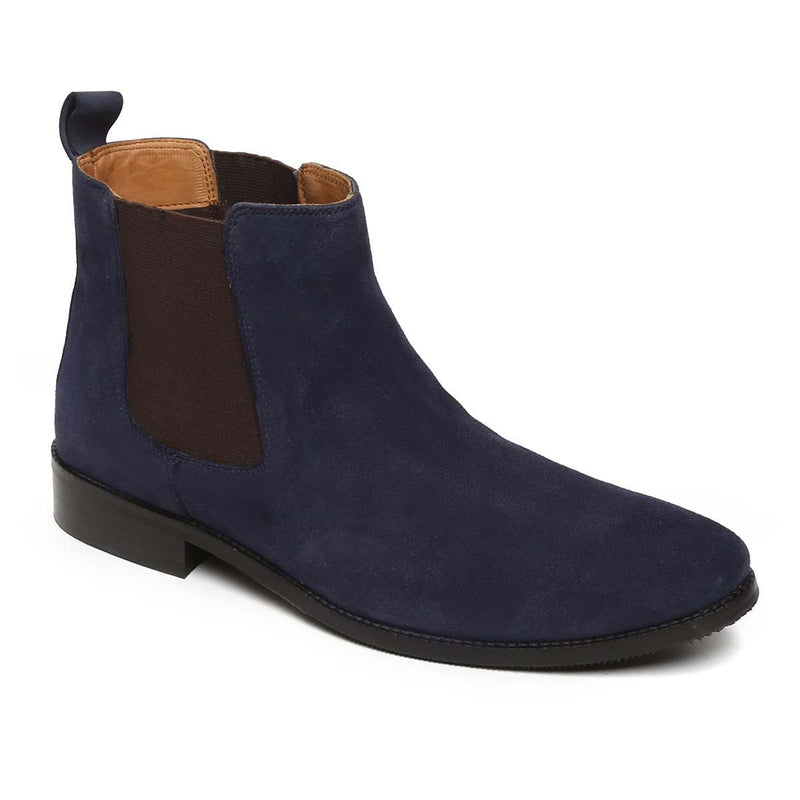 Navy Suede Leather Hand Made Chelsea Boots For Men By Brune