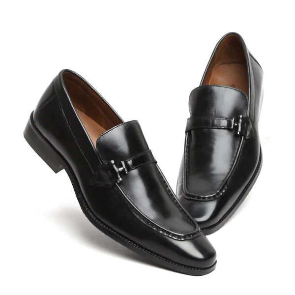 Black Leather Apron Toe Bit Loafers By Brune