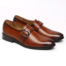 Tan Burnished Leather Single Monk Strap Shoes By Brune