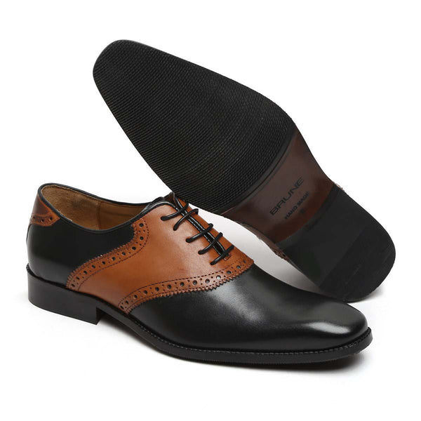 Black And Tan Leather Plain Toe Quarter Brogue Formal Shoes By Brune