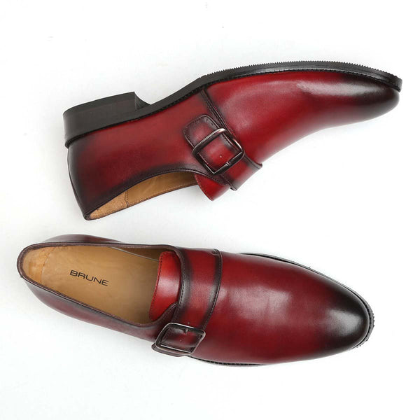 Burgundy Burnished Leather Single Monk Strap Formal Shoes By Brune