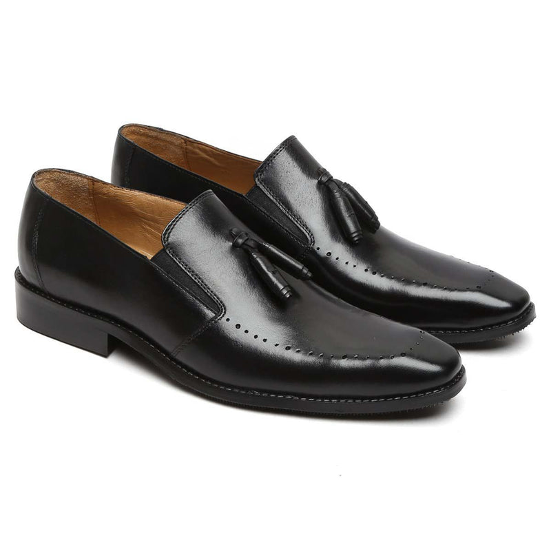 Black Leather Tassel Loafer Hand Crafted Shoes By Brune