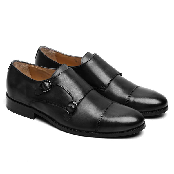 Black Leather Rounded Cap Toe Double Monk Strap Formal Shoes By Brune