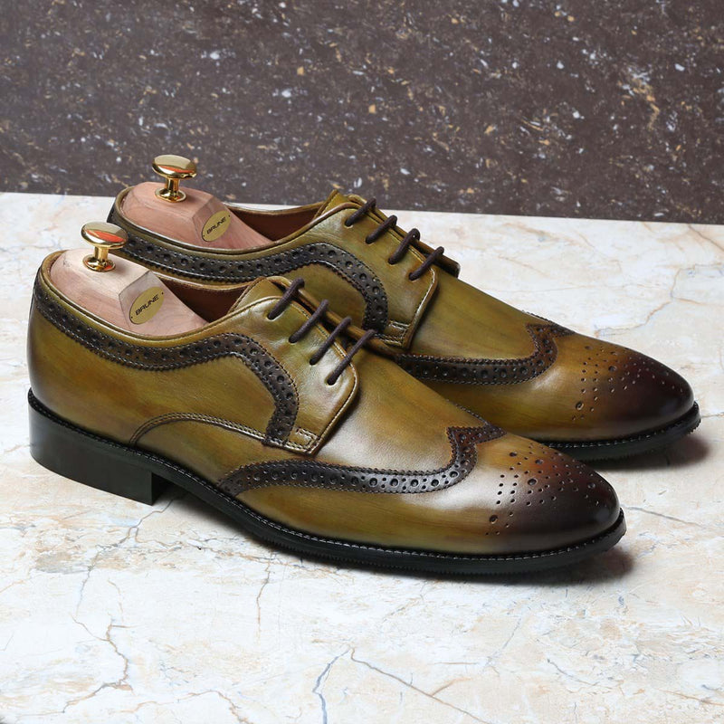 Olive Color Hand Finished Full Brogue Wingtip Formal Shoes By Brune