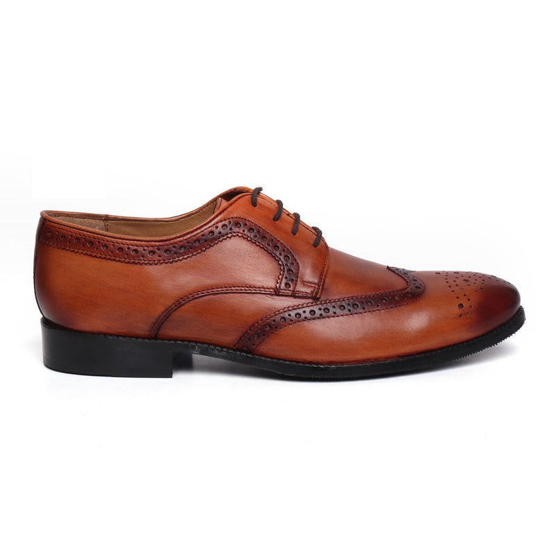 Wooden Look Full Brogue Wingtip Shoes In Genuine Tan Leather By Brune