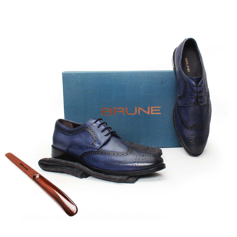 Blue Leather Hand Finished Full Brogue Wingtip Formal Shoes By Brune