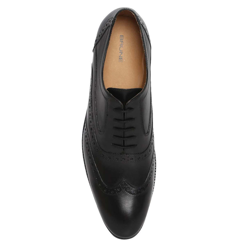Black Genuine Leather Hand Crafted Full Brogue Wingtip Formal Shoes By Brune