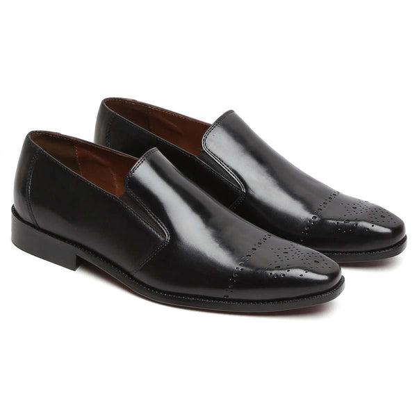 Black Leather Quarter Brogue Formal Slip - On By Brune