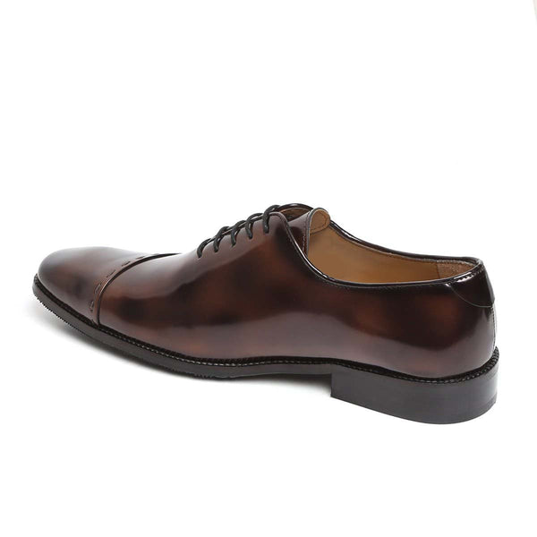 Brown Brushed-Off Leather Sideways Stitching Formal Oxfords By Brune