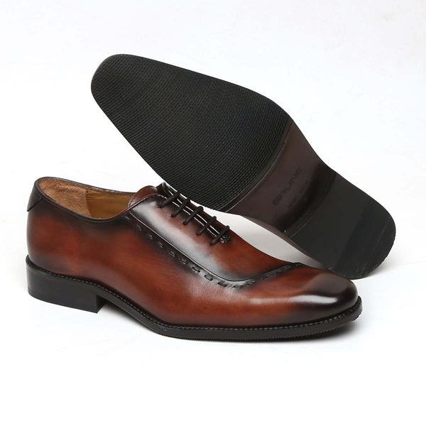 Dark Brown Leather Sideways Stitching Formal Oxford Shoes By Brune