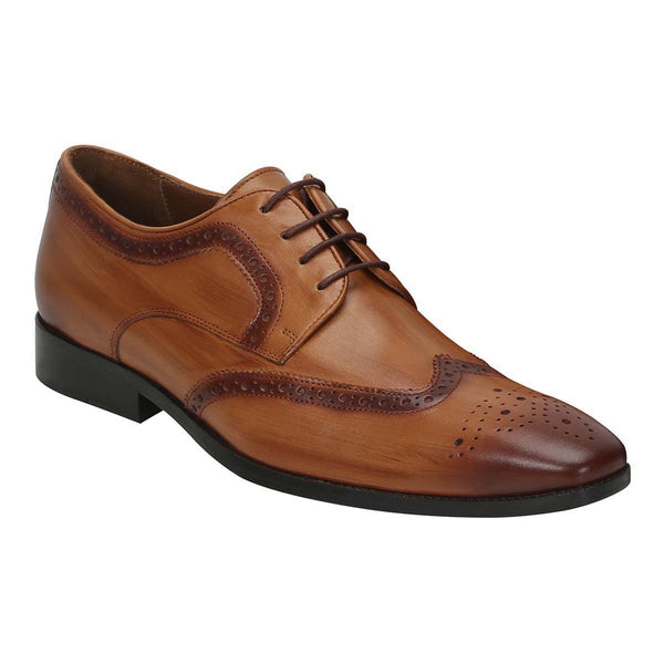 Wooden Look Burnished Tan Leather Full Brogue Wingtip Shoes By Brune