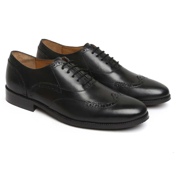 Brune Black Leather Hald Brogue Wingtip Men Formal Shoes