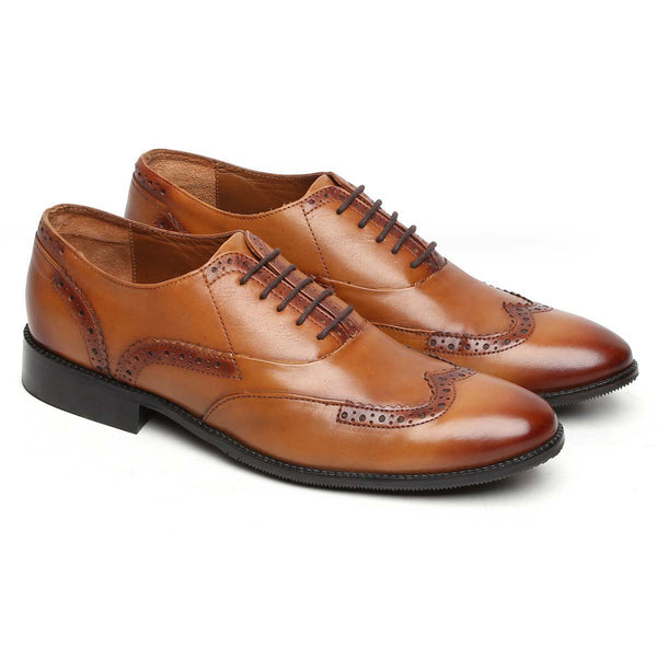Light Tan Burnished Leather Half Brogue Wingtip Formal Shoes By Brune