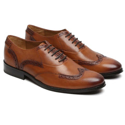 Brown Hand Crafted Half Brogue Wingtip Formal Shoes By Brune