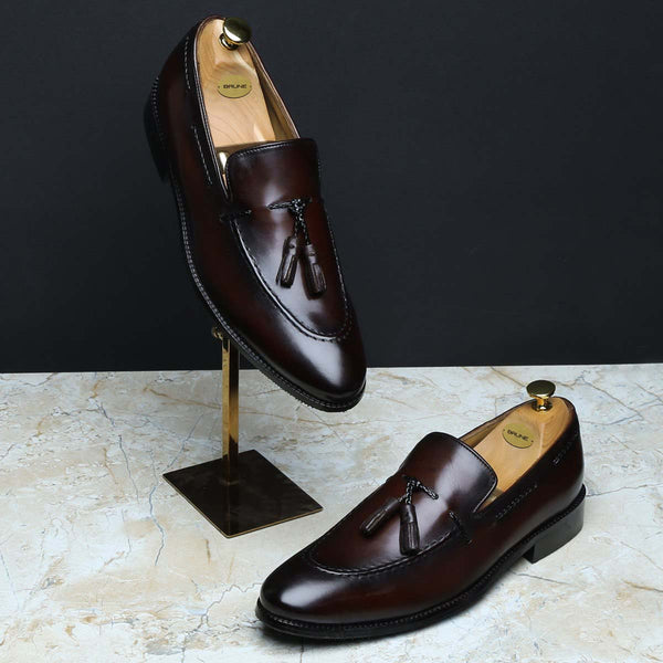 Dark Brown Genuine Leather Side Lacing Tassel Loafers By Brune