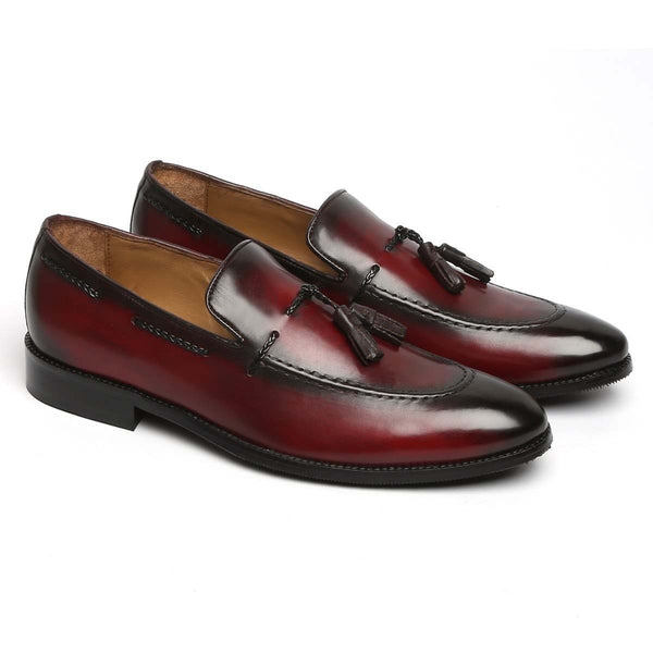 Dark Wine Genuine Leather Side Lacing Tassel Loafers By Brune
