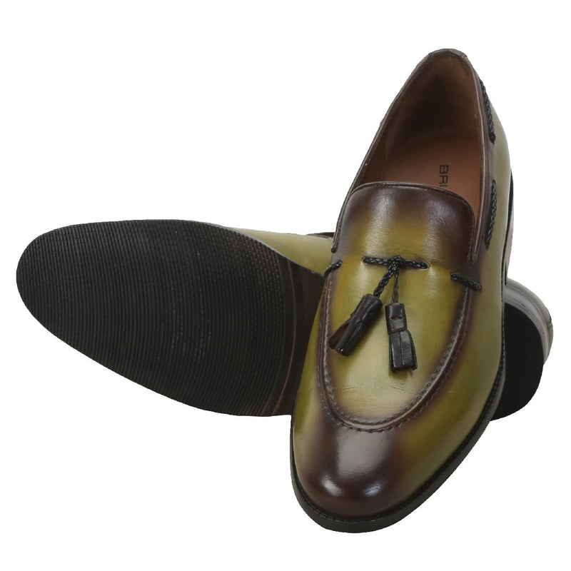 Olive Green Genuine Leather Side Lacing Tassel Loafers By Brune