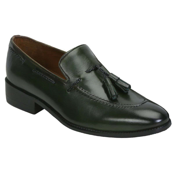 Forest Green Genuine Leather Side Lacing Tassel Loafers By Brune