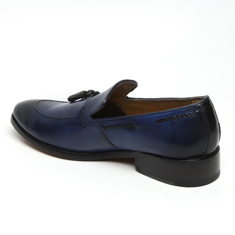 Navy Blue Genuine Leather Side Lacing Tassel Loafers By Brune