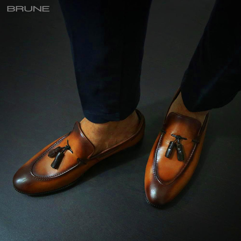 Tan Genuine Leather Side Lacing Tassel Loafers By Brune
