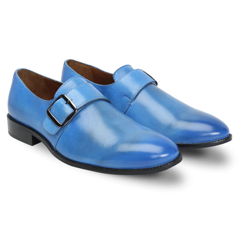 Sky Blue Hand Crafted Single Monk Strap Formal Shoes By Brune