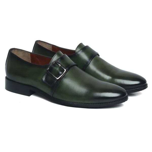 Green Hand Crafted Single Monk Strap Formal Shoes By Brune