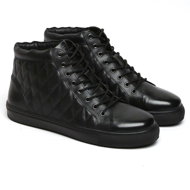 Bareskin Black Leather Diamond Stitched Sneakers Shoes