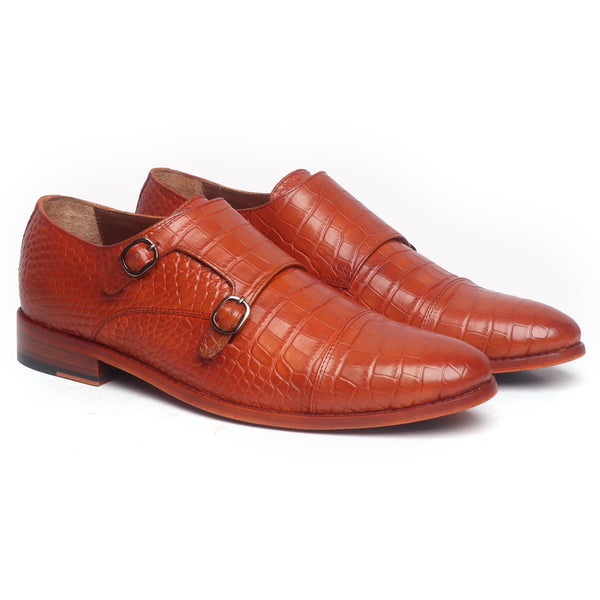 Tan Croco Leather Double Monk With Leather Sole Shoes By Brune