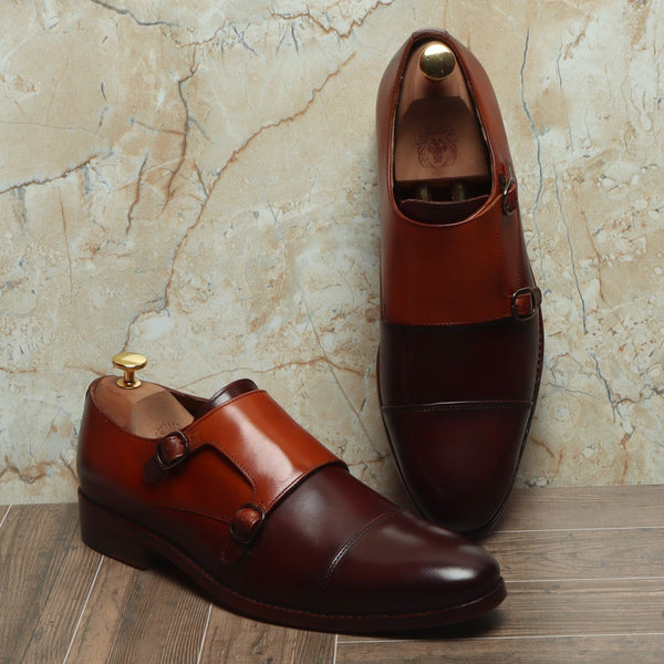 Brown Leather Sole Monk Shoes By Brune