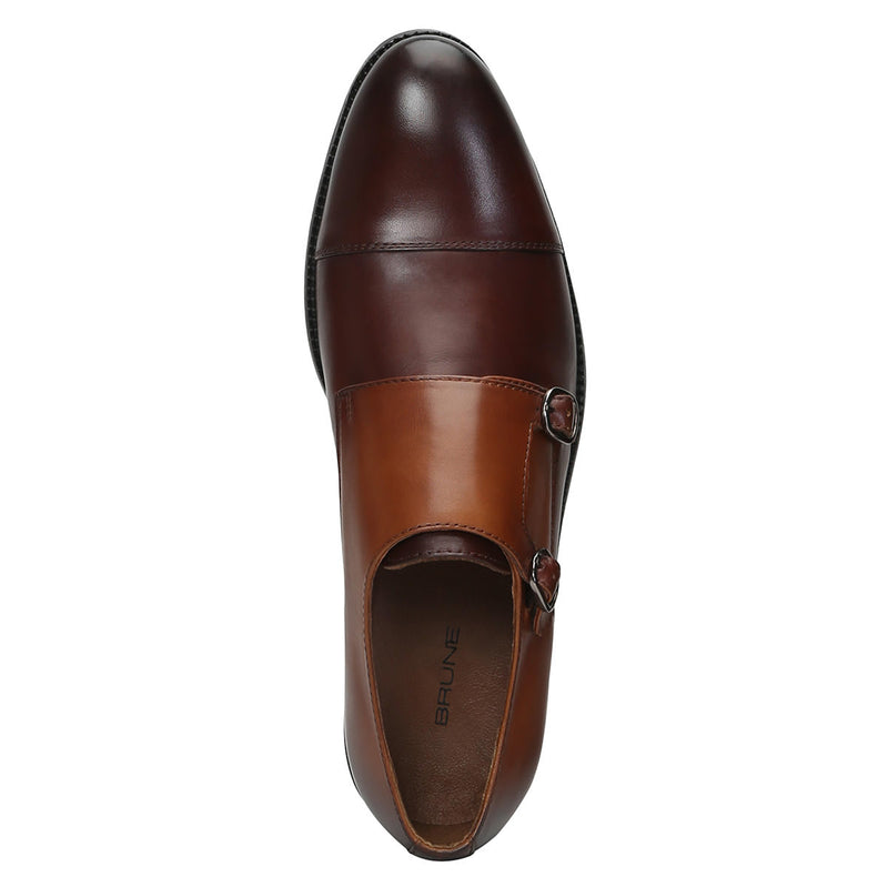 Brown Genuine Leather Monk Shoes By Brune