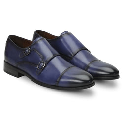 Blue Leather Rounded Cap Toe Double Monk Strap Formal Shoes By Brune