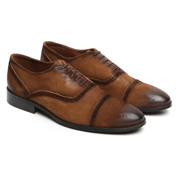 Brown Lace Up Cap Toe Suede Leather Brogue Shoes By Brune