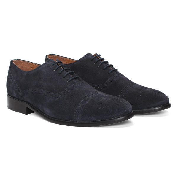Navy Blue Genuine Leather Brogue/Oxford By Brune