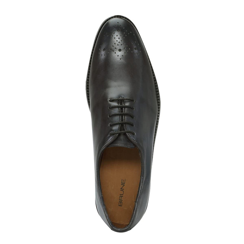 Dark Grey Hand Finished Medallion Toe Oxford Formal Shoes By Brune