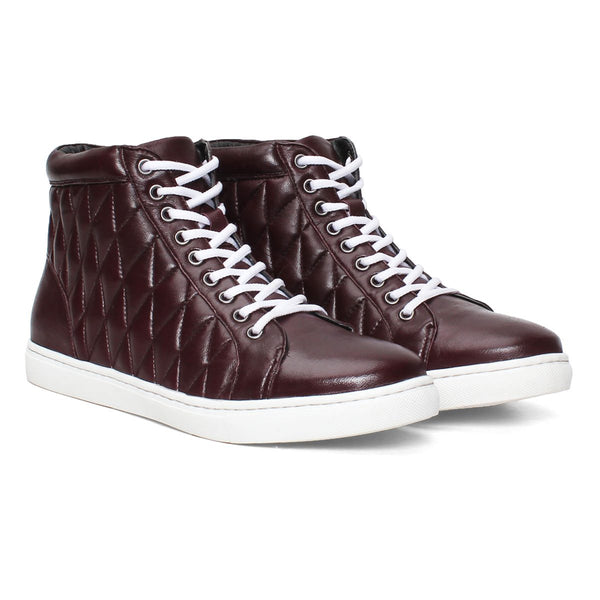 Burgundy Leather Diamond Stitched Sneakers By Bareskin