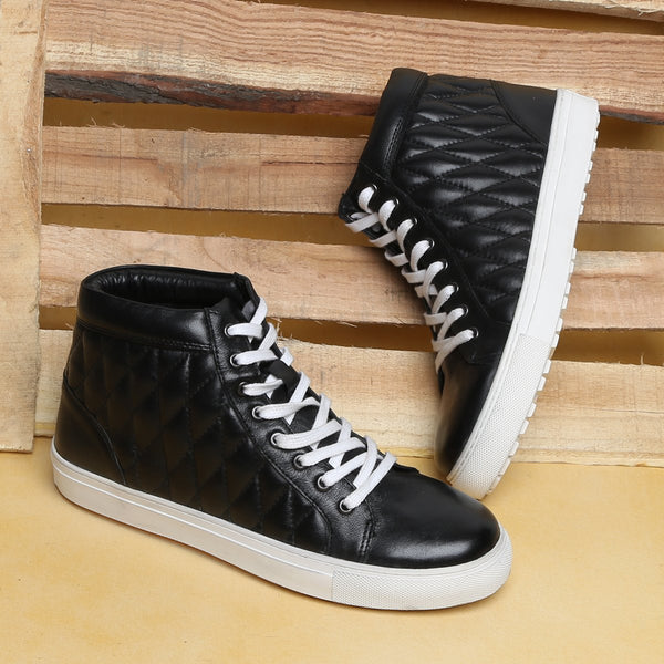 Black Leather Diamond Stitched Sneakers By Bareskin